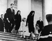 President's Family leaves Capitol after Ceremony. Caroline Kennedy, Jacqueline Bouvier Kennedy, John F. Kennedy, Jr. (2nd row) Attorney General Robert F. Kennedy, Patricia Kennedy Lawford (hidden) Jean Kennedy Smith (3rd Row) Peter Lawford. United States
