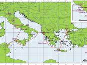 English: Map of Aeneas' journeys. Deutsch: Karte mit den Reisen von Aeneas. Français : Carte des voyages d'Énée. Interlingua: Mappa del viages de Eneas.