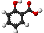 Ball-and-stick model of the salicylic acid molecule, a carboxylic acid used for acne treatment, and a precursor to aspirin.