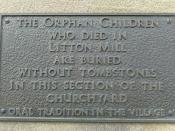 Sign Commemorating the Death of Orphan Children working in Litton Mill