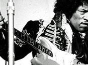 English: Jimi Hendrix at the amusement park Gröna Lund in Stockholm, Sweden, May 24, 1967. Svenska: Jimi Hendrix fångad på bild på Gröna Lunds scen den 24 maj 1967.
