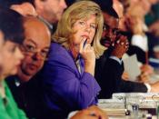 Tipper Gore, wife of then Senator and later Vice President Al Gore; sitting with LeVar Burton.