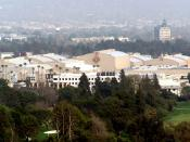 Photo taken on March 9th, 2007 at the vista point at Universal Studios Hollywood. The closest structures are the sound stages of the Warner Bros. Studio Lot. Directly behind them, with only the roofs showing, are the sound stages of the Walt Disney Studio