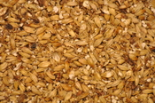 A blend of milled malted barley for beer brewing