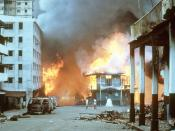 English: Flames engulf a building following the outbreak of hostilities between the Panamanian Defense Force and U.S. forces during Operation Just Cause.