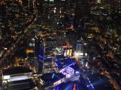 View of downtown Los Angeles, California at night.