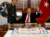 Army Chief of Staff Eric Shinseki thanks Senator Strom Thurmond for his service to the country during his 100th birthday celebration. Shinseki joined Thomas White in wishing the Senator happy birthday in a ceremony at his office on Capitol Hill Dec. 4. (P