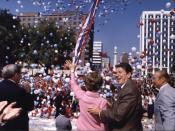 Ronald Reagan campaigning with Nancy Reagan in Columbia, South Carolina. 10/10/80.