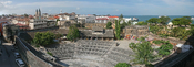 English: A panorama of the Old Fort of Zanzibar and the Stone town as seen from the House of Wonders in Zanzibar, Tanzania. This composite image was stitched with PTGui using cylindrical projection