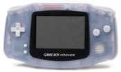 English: A Nintendo Game Boy Advance, shown in Milky Blue. This is the PNG version.
