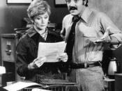 Publicity photo of Hal Linden and Barbara Barrie as Barney and Liz Miller from the television program Barney Miller.