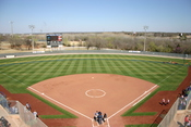 The pitching circle, seen here at ASA Hall of Fame Stadium in Oklahoma City, is a required part of ASA and ISF fast-pitch softball