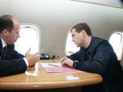 English: Russian President Medvedev with FSB Director Alexander Bortnikov on the way from Moscow to Makhachkala.