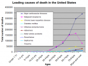 English: Causes of death by age group (see List of causes of death by rate)
