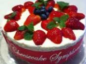 English: Baked Strawberry Cheesecake using fresh Strawberries