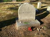 Grave of Nathaniel Hawthorne, Sleepy Hollow Cemetery in Concord, Massachusetts