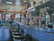 Ralph's Diner, Ralph Goings, 1982. The actual physical texture of this painting is smooth, despite its visual textures.