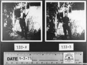 Two photographs of Lee Harvey Oswald holding his Mannlicher-Carcano rifle, his pistol, and two newspapers, in his backyard in Dallas, Texas. JFK Exhibit F-179