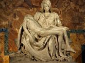 English: Michelangelo's Pietà in St. Peter's Basilica in the Vatican. Français : La Pietà de Michel-Ange située dans la Basilique Saint-Pierre, au Vatican.