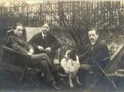 left to right: Marcel Duchamp, Jacques Villon, and Raymond Duchamp-Villon in the garden of Jacques Villon's studio in Pateaux, France, 1914, all three brothers were included in the exhibition.