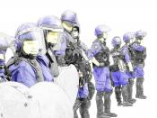 An illustrative work of a police riot force.