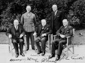 Commonwealth Prime Ministers' Conference. (L-R): Rt. Hon. W.L. Mackenzie King (Canada), General Jan Smuts (South Africa), Rt. Hon. Winston Churchill (United Kingdom), Rt. Hons. Peter Fraser (New Zealand), John Curtin (Australia). Location:London, U.K.