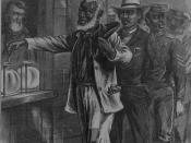 1867 drawing depicting the first vote by African Americans