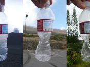 This plastic bottle was sealed at approximately 14,000 feet altitude, and was crushed by the increase in atmospheric pressure (at 9,000 feet and 1,000 feet) as it was brought down towards sea level.