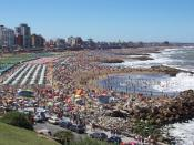 One of the beaches of Mar del Plata during summer tourism season.
