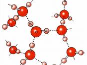 English: Hydrogen bonds in liquid water Deutsch: Wasserstoffbrückenbindungen des Wassers