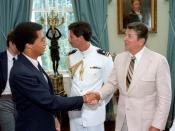 English: President Reagan and Arthur Ashe.