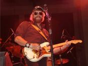 Photo of musician Hank Williams, Jr. in concert in Birmingham, Alabama.