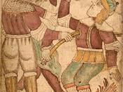 An illustration of the blind Höðr killing Baldr, from an Icelandic 18th century manuscript.