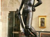 English: Donatello's genius made him an important figure in the early Italian Renaissance period. His works include St John the Baptist as a Youth, his Marzocco (the Florentine heraldic lion) and his famous mature work of the bronze David. This is located