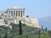 The Parthenon of Athens seen from the hill of the Pnyx to the west. Location 23°43'35.69