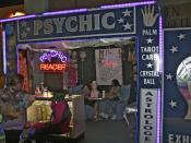 English: Psychic reader booth at the Canadian National Exhibition midway August 2008.