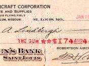 Charles Lindbergh's last pay check as an RAC Air Mail pilot.