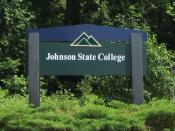 English: A welcome sign on the campus of Johnson State College in Vermont