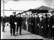 Federal Minister for Defence Sir Robert Archdale Parkhill inspects Navy Sea League Cadets at Snapper Island, Sydney
