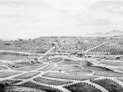 Plan of Boyle Heights in 1877, with Los Angeles in the background