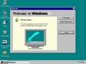 Windows 95 first-run dialog, explaining use of the Start button.