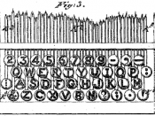English: QWERTY typewriter key layout depicted in U.S. Patent No. 207,559, issued August 27, 1878 to Christopher Sholes.