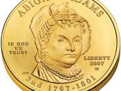 English: First Spouse Program coin for Abigail Adams. Obverse.