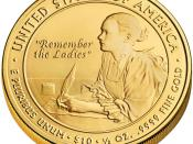 English: First Spouse Program coin for Abigail Adams. Reverse.