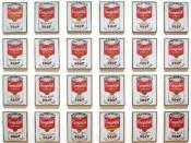 Campbell's Soup Cans by Andy Warhol, 1962. Displayed in Museum of Modern Art in New York.