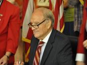 English: Senator George McGovern signing his book