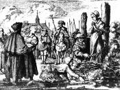 Русский: Сжигание Ведьмы Приготовления к казни в 1544 году.