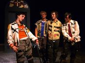 English: A production photo from Brad Mays' multi-media stage production of