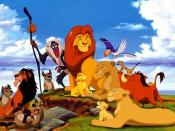 The main characters in the first film. From left to right: Shenzi, Scar, Ed, Banzai, Rafiki, Mufasa, Simba, Sarabi, Zazu, Timon and Pumbaa. Bottom right: Nala and Sarafina.