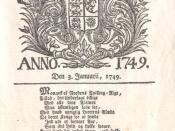 Front page of Kjøbenhavnske Danske Post-Tidender (today Berlingske Tidende) in 1749 Nederlands: Voorpagina van Berlingske Tidende in 1749